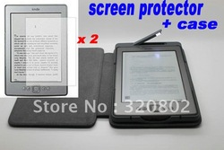 2012 New Lighted Leather Case Cover For Amazon Kindle Touch/ kindle 4 (Built-in Led Light ) +2 x screen protector free shipping(China (Mainland))
