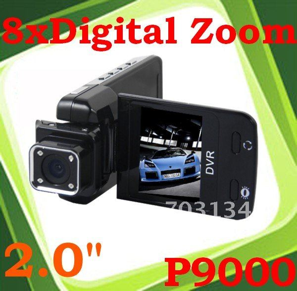 Hot Sale 2.0'' TFT HD Motion Detect Car DVR Cam Video Recorder Camcorder P9000 Freeshipping&Dropshipping(China (Mainland))