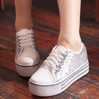 2013 autumn paragraph casual low canvas shoes gentlewomen paillette  female shoes C01409
