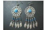 Beautiful Tibet Silver Turquoise Bead Women's Earrings