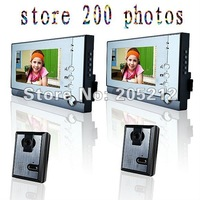Free shipping  7-inch wired color video intercom doorbell 2 to 2 with memory