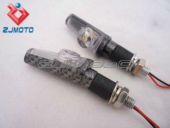 2 x Motocross Motorcycle carbon LED Turn Signal Light Indicators For honda CBR 600rr 1000rr CB400 CBR400 250 VFR VTR CB1300