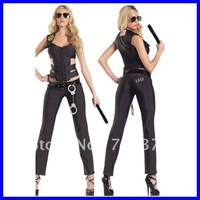 Free shipping Sexy Swat Officer Female Costume 2012 Sexy Cops Costume Wholesale 10pcs/lot Cosplay costume Games uniform 8589