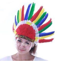 Feather headdress colours feather Indian tire multicolor hat headwear free shipping(China (Mainland))