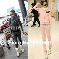 Hot Selling Winter fleece Sport Suits Fashion Women Hoodies +Pant tracksuits 2pcs 1set suit free shipping