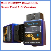 Hot sale OBD/OBD II Mini ELM327 Bluetooth work on Android Torque diagnostic Scan tool 1.5 Version free shipping by post air