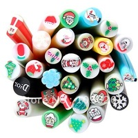 XMAS CHRISTMAS 30PAC NAIL ART 3D FIMO DECORATION BAR SET