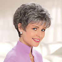Free Shipping New Stylish Heat Resistant Silver Short Straight Lady's Fashion  Sexy Party Cosplay  Synthetic Hair  Wig/Wigs