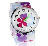 New Stylish Cartoon Flower & Heart Pattern Women's Analog Watch with Plastic Strap.Free shipping