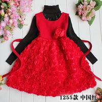 2012 girls clothing woolen basic skirt rose tank dress child one-piece dress princess dress