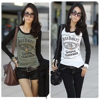 2012 plus size clothing women's patchwork irregular long-sleeve T-shirt