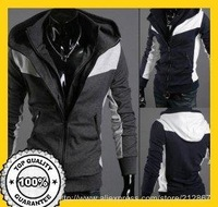2012 Free Shipping  new men's fake two stand-up collar hooded sweater code Builders