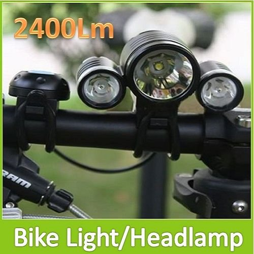 Special Offer ! Waterproof 2400 Lumens Bicycle Light HeadLamp With 1X CREE XM-L T6 + 2X XPE LED lights + 6400mAh Battery Pack(China (Mainland))