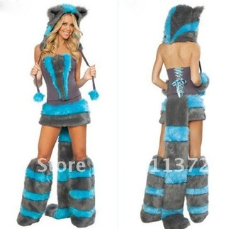 2012 Sexy Cheshire Cat Woman Halloween Costume Top Skirt Leg Warmers Tail & hood