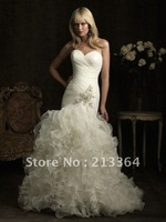 Free shipping Organza+Beaded Sweetheart Mermaid Custom Made Wedding Dresses any size/colour wholesale/retail