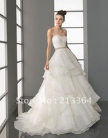 Free shipping A-Line Organza+Beaded Sweetheart custom made Wedding Dresses any size/colour wholesale/retail