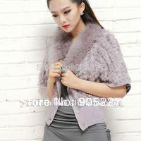 2014  girl's knitted rabbit fur gilet for women rabbit fur T-shirt