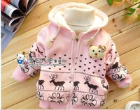 free shipping 3 color 3pcs/lot lovely printing baby&#39;s outer wear kid&#39;s coat
