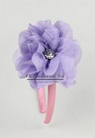 2012 Christmas And Halloween Pettigirl's Hair Band Accessories Purple Flower With Diamond Waffle String Hair Clip Pink Hairpin