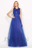 Sleeveless Full Length Junoesque Elegant Gorgeous Luxury Unique Blue Tulle Evening Dress Long Prom Dresses