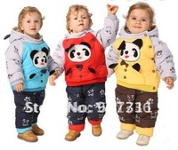 free shipping 3pcs/lot 3colors Baby winter suit +pant panda clothing boy fur clothing suit winter clothing set kids suit
