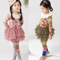 Леггинсы для девочек children's Leggings Girl's Pure color flowers legging 100-140cm 3 color spring/autumn