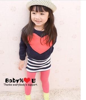 Free shipping 2012 children's clothing autumn female child baby fashion love long-sleeve batwing shirt vest one-piece dress set