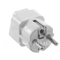 2012 New White Universal AU US UK to EU AC Power Plug Travel Home Converter Adapter, Free Shipping