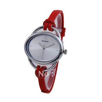 Julius Women Leather Band Noble Quartz Watch