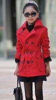 Autumn Children's  Fashion Trench Girl Boy's Trench coat Free Shipping Red Black  Khaki