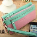 2012 brief color block wallet double zipper large capacity women's long design wallet clutch wristband