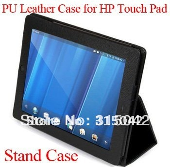 "Free shipping PU leather case for HP touch pad 9.7"" tablet , For HP touch pad stand cover, 9.7"" pad case, black color"