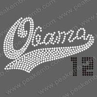 Free Shipping 30pcs/Lot 2012 Obama Rhinestone Transfer Iron on Motif for Tshirt Hoodies Custom Design Available