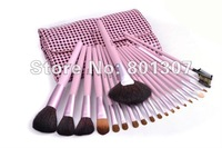 Free Shipping 1 sets/lot Pink 21 Pieces Cosmetic Brush Set with Beauty  Case