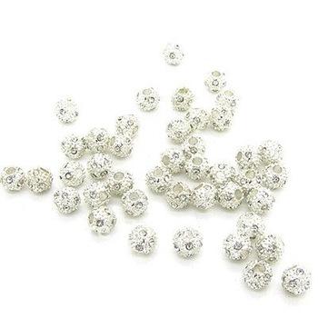 10mm Round Silver Plated Round shape Shambhala ball full rhinestone bead DIY Loose bead 100pcs/lot   HA961