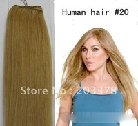 55cm 22inch Indian hair weft weaving extensions Color #20 Blonde