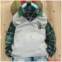 child sweater male child faux two piece set 100% cotton thin sweater bear long-sleeve shirt vest sweater Free Shipping