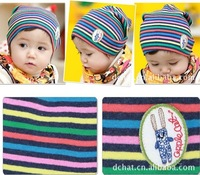 Free shipping+8pcs/lot+Foreign Trade Korean Version Striped Pattern Knitted Children's and Infant's Woolen Hat For Winter Autumn