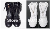 Autumn and winter Men casual shoes high martin boots men skateboarding shoes casual shoes&boots size:39-44 Black/White #1996