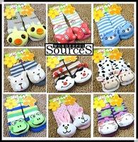 24 Pairs/lot free shipping,baby Anti-slip stereo cartoon animal socks,toddler's socks,colorful design,boys girls short socks