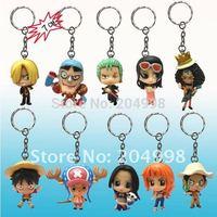 "Free shipping Anime One Piece Luffy Straw Hat Pirates Boa 2"" PVC Toy Figure Key Chain (10 pcs/set )"