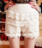 Free shipping 2013 fashion  multi-storey lace openwork crochet shorts