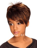 Free Shipping Heat Resistant New Stylish Light Brown Short Straight Lady's Fashion Cosplay Party Synthetic  Hair Wig/  Wigs