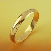 Smooth 18K Plain Yellow Gold Filled GF Solid Women's Bangle Bracelet DIA.58MM Free shipping