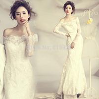 Lace Wedding Dress Long-sleeve Train Bride Mermaid Wedding dress 2014 Plus size Wedding Dress Vestido de noiva Bridal Gown