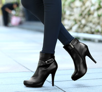 Passion 2012 autumn genuine leather women's shoes boots buckle platform high-heeled ankle-length boots y113