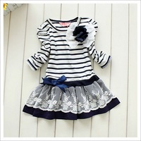 Free Shipping 5 pcs girls striped dresses children girl dress stripe princess flower top clothes tops clothing Corsage