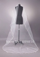 2013 free shipping latest custom made  beautiful one layer satin edge   bridal wedding  veils