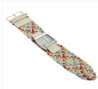 Colorful Lady Girl Braided band Strap Quartz Wrist watch Wristwatch Fashion Gift