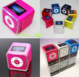 Free shipping Mini USB LCD MP3 Player Speakerk Micro SD TF Card FM Radio Line In/ Out sound box fashion design(China (Mainland))